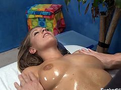 Fucked Hard 18 brings you a hell of a free porn video where you can see how the naughty brunette Lizzy London enjoys a very intense oil massage while assuming hot poses.