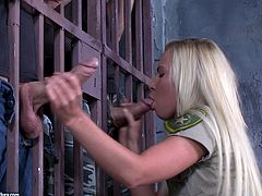 long haired horny blonde in panties sucks two cocks before getting her anal and pussy drilled mercilessly in threesome in a prison