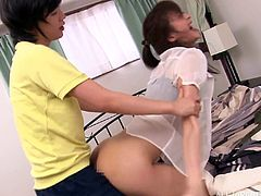 Magnificent Japanese teen with small tits long hair getting her nipples and pussy sucked then drilled hardcore doggy style