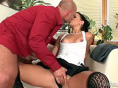 Alluring brunette guzzles big shaft and gets her pussy finger fucked