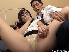 japanese cowgirl in glasses makes call in the office then she seduces servant gets her pussy fingered and banged in office reality