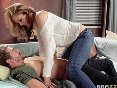 Horny cougar Julia Ann slams her shaved pussy down on hard cock