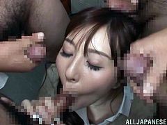 The brunette milf in the video brings the usual blowjob to a higher level! If you're skeptical, don't hesitate to see the slutty bitch on knees, taking turns in sucking more horny cocks. The greedy Asian doesn't seem to get enough! The image of the bitch's face covered with a big load of cum is exciting!