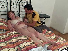 This grandma was injured while walking and this young chap is treating her well with his assistance and hard dick.