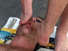 He thought this can never happen, but these guys are not fooling around and they can't care less if it's in public or not. Check them out, how they've tied this dude, fucked him and then, continued on the sidewalk. Oh yeah, they are getting really rough now and it seems, that our boy toy loves it!