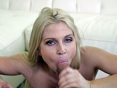 Horny blonde with natural tits showcase her nice ass then fingering her juicy pussy before awarding her horny guy with a superb blowjob