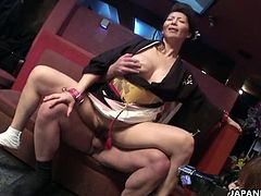 Two busty Japanese babes indulge in kinky oral sex while being teased with a dildo. They suck on one horny bloke's thick cock before taking it up their twats.