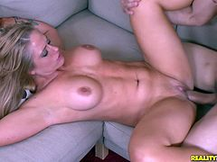 A horny couple ends up fucking on the couch in the office