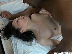 mature japanese model with small tits and long hair gets her pussy on heat as she is bonked massively in an interracial close up