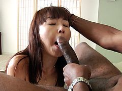 This sweet chick likes to play with her toys in masturbation but gets to suck and fuck a huge cock with a cum in the mouth.