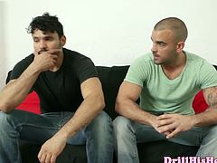 Watch these two horny and sexy gay muscle hunks in this hardcore ass drilling scene.See how they both gets naked for sucking and fucking hard on the couch.