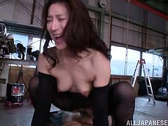 Marina loves hardcore activities. Her hairy pussy and playful small tits look very appetizing and she gets double penetrated. Her two partners bang her well from behind and sideways as well! See her riding dick and getting the most from the pleasurable reverse cowgirl position. Enjoy the kinky details!
