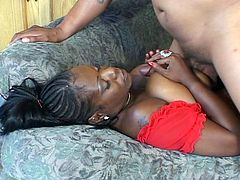 This horny ebony chick gets drilled hard by a horny thick black cock in this hardcore video