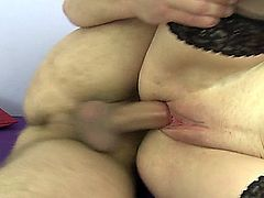 40 + woman gets a rough fuck by two young horny guys.