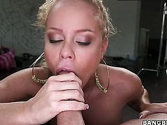 Rose with bubbly ass is too horny to resist Nikki Delanos twat and gives it a lick