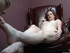 Asian drunk guy enjoys steamy foot fetish with lusty ginger mommy