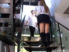 Pretty Japanese teen tia gets ganbanged in a locker room