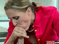 Skilled mommy teaches her girlie blowing massive dick hard
