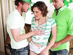 Krissy Lynn with juicy hooters plays with her clit as she gets her hole humped by Ryan Driller
