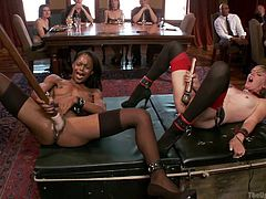 If you´re into exquisite bdsm, check out these hot scenes from reality filmed in an Edwardian household. A blonde bitch with collar and high heels shares ¨the podium¨ with an ebony beauty. The versed sluts are playing dirty with sex toys like vibrators. See their asses and pussies while they masturbate!