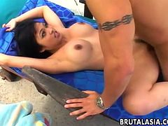 Lovely Japanese babe moans while her raunchy lover is licking her cunt. He pounds her delicate wet pussy before slamming his big hard dick deep down her tender ass.