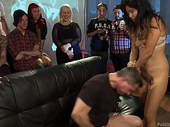 Everybody's having fun, but Angelica Chung is going all over her limits. While some of the guests are happy with a drink or two, Angelica want to go really crazy, so here we have her completely naked and with her legs spread. She gets fingered, rides cock and even kisses a lesbian! What a whore!