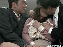 Two horny gentlemen cannot help noticing an attractive Japanese babe with big tits, dressed elegantly, sitting nearby them in the public transport. Watch her persuaded into sucking their cocks and showing off her tits, while her pussy is rubbed and fingered with a lusty desire. Don't miss the hardcore scenes!