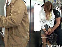 If you find entertaining, getting laid while travelling with means of public transport, don't hesitate and click, to watch some exciting hardcore scenes, where a hot Japanese lady is the main attraction. Ruri has got amazing big tits and lovely buttocks. See her sucking cock on knees and turning on a horny guy!