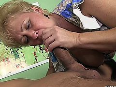 Tracy Licks likes to suck a young cock and does it very well