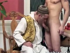 Three horny arabs having their first time threesome with them sucking their dicks making it hard for them to drill deep on their buttholes making it open wide.