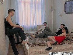 At least it was done, that's how this mature wife describe on her experience here as she never experience this gangbang session when she was younger. She make the most out of it fucking the four boys.