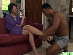 Kei Marimura is a mature Japanese who gets her hairy snatch licked over a glass of wine. Next, the guy's cock is buried in her wet hole and makes her moan.