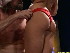 Check out this hot whore as she slams this big hard cock in this  tube video.