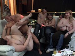 Gorgeous BBW friends host a group sex for the first time and they loving it. These two couple are enjoying it the most as they immediately started their hardcore while the others watching.