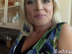 Smoking hot blonde housewife Diana loves the opportunity to be fucked by a young guy. She got shocked and amazed at the same time knowing that she'll be getting a huge fat dick to play with.