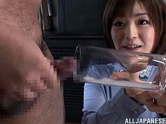 japanese cutie wants to drink his cum