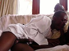 Witness these African twinks life up their robes to reveal and suck on each others hard horny rods