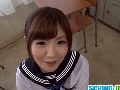 Adorable teen Maya Kawamura taking a break at school with her teacher letting her do whatever she want on her cock. She let her slid her mouth into his shaft and then started licking his balls.