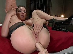 Krissy and Dana are two horny lesbians addicted to anal kinky activities. The slutty babe with big lovely tits keeps playing with a vibrator or rubbing her cunt to get aroused while her legs are widely spread. The closeup images show her excitement when her big ass is fisted deeply. See the detailed scene!
