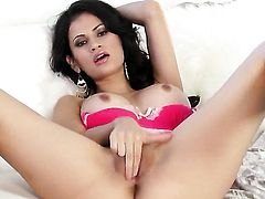 Vanessa Veracruz with massive jugs and shaved twat loves fucking herself for you to watch and enjoy