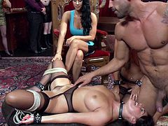 A brunette milf wearing kinky stockings and a collar lays on the table with legs widely spread. Watch her pussy rubbed and stimulated with a vibrator! The versed slut has great blowjob skills. Click to see a blonde slut while getting on knees to lick a horny babe's cunt. Do you feel the heat? Relax and enjoy.