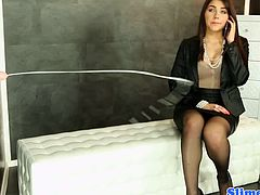 Posh office babe Valentina Nappi taking a call in the comfort room when suddenly a dick shows up and blows a massive amount of cum all over the room and soaking her whole body.