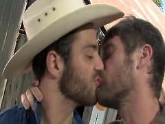 Colby Keller joins Chris Porter and Tommy Defendi for A cowboy-themed threeway bump in this video. Colby wakes Chris from his nap by running his hand up Chris's leg. Colby's great large bat is out of his pants quickly and Chris turns his head to swallow it up, and lick onto Colby's balls. Tommy is watching from A distance, but fixing the truck is able to hold onto for now. He heads over and then these farmers especially start plowing.