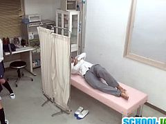 Japanese teen accompanies her lover in the school's clinic as he is sick and needs some medical attention. The doctor bought some meds and these couple found a way to fuck quick.