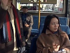 This dirty girl has no problem, letting creep on the bus play with her pussy. She lets a homeless guy finger her twat and then, wanks his cock in front of everyone on the bus. Can they keep their sex act hidden?
