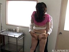 A naughty Japanese girl fucks her teacher for a better grade