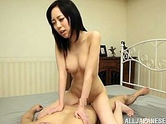 japanese brunette gets filled with cum