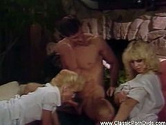 Classic porn Dvds brings you a very intense free porn video where you can see how this vintage blonde sluts share a hard rod of meat while assuming very hot positions.