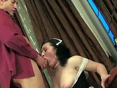Busty maid Gwendolen is so young and fresh and she offers extra service on her horny boss by sucking his big dick and spreading her white legs pounding her pink slit.