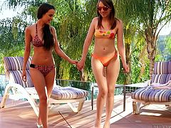 Girls just wanna have fun! Two horny lesbians are attracted to each other and after sweet, caresses, and passionate kisses, go straight to bed together. Watch them, undressing with sensual movements and exposing their young slim bodies. The brunette babe seems to enjoy very much, having her pussy eaten. See!